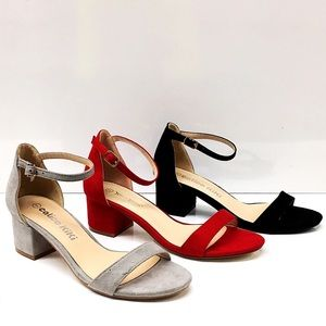 Nature Breeze Eldred Red Suede Ankle Block Heel